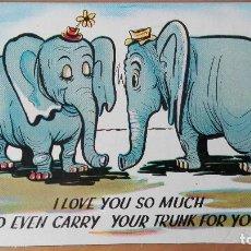 Postales: POSTAL ANIMALES ELEFANTES ELEPHANTS I LOVE YOU SO... EDI USA COLOR PERFECTA CONSERVACION CIRCUL 1958. Lote 121100283