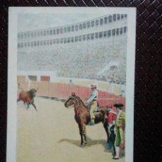 Postales: TARJETA POSTAL ARTÍSTICA ESPAÑOLA. SALIDA DEL TORO. 9. SIN CIRCULAR. SIN DIVIDIR.. Lote 128320543