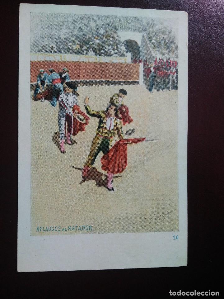 TARJETA POSTAL ARTÍSTICA ESPAÑOLA. APLAUSOS AL MATADOR. 20. SIN DIVIDIR. SIN CIRCULAR. (Postales - Postales Temáticas - Animales)
