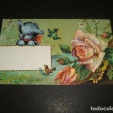 Postales: FELICITACION PERRO PAJAROS Y FLORES. Lote 128671743