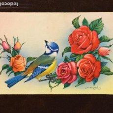 Postales: POSTAL PÁJARO CON FLORES. CYZ 589/B. ESCRITA.. Lote 133449506