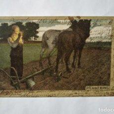 Postales: CABALLOS POSTAL ALEMANA ESCRITA DESDE BARCELONA CIRCULADA. Lote 135147130