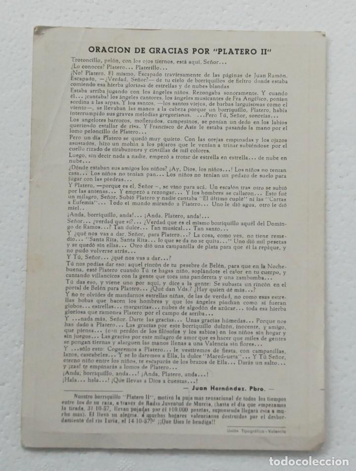 Postales: ORACION GRACIAS POR PLATERO II DEDICATORIA DE I. BERNAL ,SUBASTA PRO VALENCIA RADIO JUVENTUD 1957 - Foto 2 - 138068722