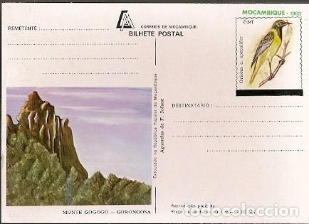 MOZAMBIQUE ** & INTERO,GORONGOSA, AGUARELA POR JOFANE, ORIOLUS CHLOROCEPHALUS SPECULIFER 1983 (8884 (Postales - Postales Temáticas - Animales)