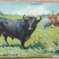 Postales: POSTAL 1. TORO BRAVO EN EL CAMPO. Lote 143304630