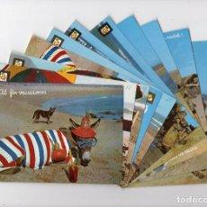 Postales: ANIMALES CÓMICOS. BURRO PLAYERO · LOTE DE 12 POSTALES -ESCUDO DE ORO-. Lote 146610446