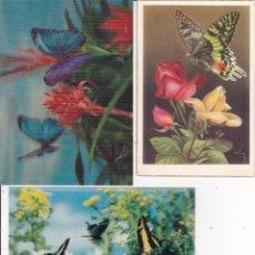 Postales: 3 POSTALES DE MARIPOSAS AÑOS 60. Lote 146677918