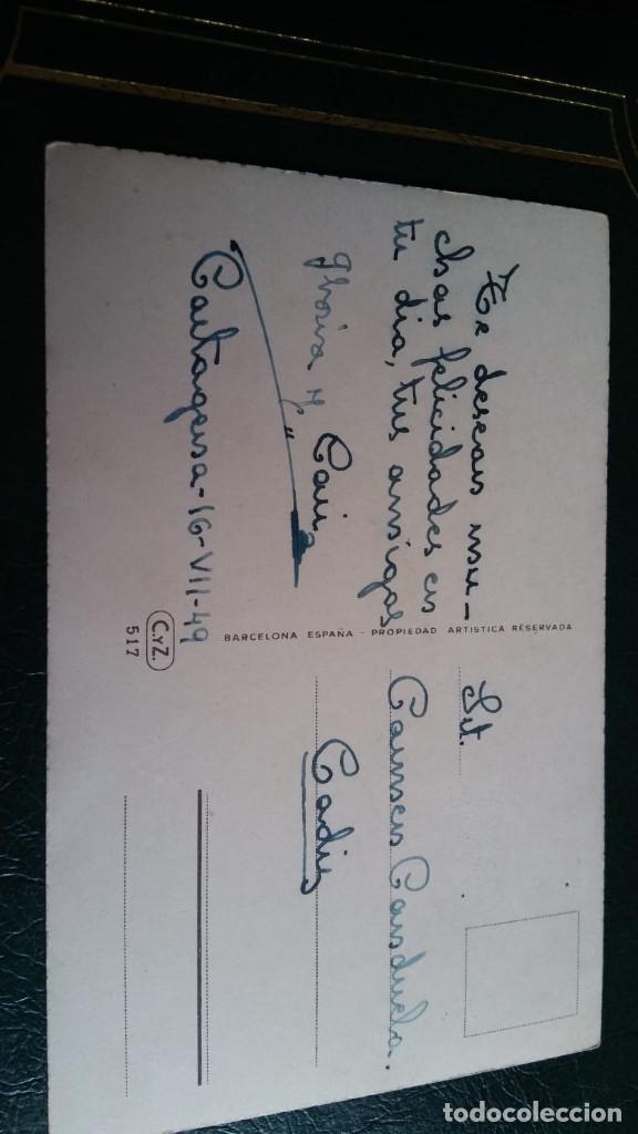 Postales: ANTIGUA POSTAL DE FELICITACIÓN ILUSTRADA CON GATO,PERRO, POLLITOS Y FLORES C Y Z - 517 FECHADA 1949 - Foto 2 - 147860834