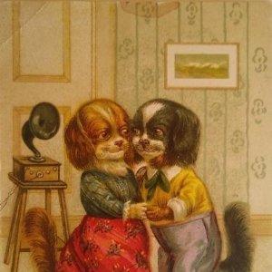 Postal antigua caricaturas perros bailando gramófono