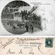 Postales: POSTAL CORRIDA DE TOROS PREPARANDO PARA EL DESCABELLO 699 HAUSER Y MENET. Lote 161833154