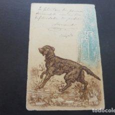 Postales: PERRO DE CAZA POSTAL EN RELIEVE 1901. Lote 174574212