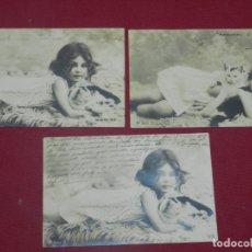 Postales: (MCAJON2) LOTE DE 3 POSTALES ROMÁNTICA PRINCIPIOS S.XX ESCENA DE NIÑA CON GATO. Lote 175613634