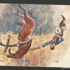 Postales: HOMBRE CAE DEL CABALLO-POSTAL ANTIGUA-(62.016). Lote 175704830