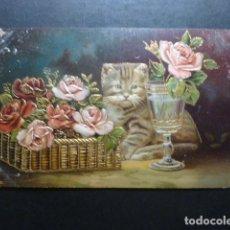 Postales: GATO CON FLORES Y COPA POSTAL. Lote 183400170