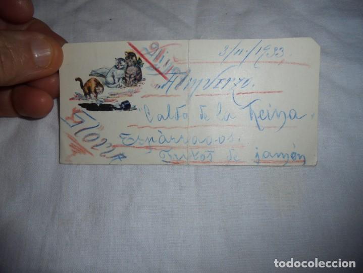 BONITA TARJETA DE MENU PINTADA A MANO GATITOS 1933 (Postales - Postales Temáticas - Animales)