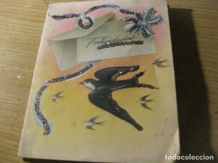 Postales: preciosa antigua felicitacion troquelada desplegable C, vive . mariposa - Foto 2 - 194536687