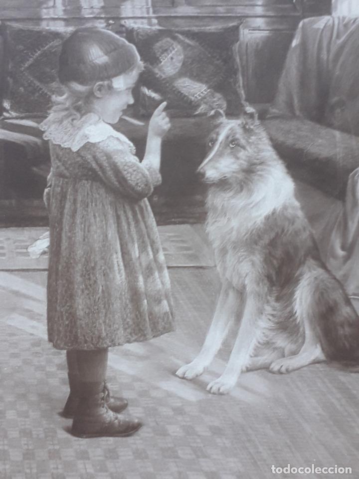 Postales: Postal, niña con perro. Un trozo de pan. París. - Foto 3 - 194583485