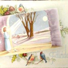 Postales: FELICITACIÓN NIÑO JESÚS Y PÁJAROS. SU. USADAA. COLOR. Lote 194663253