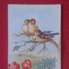 Postales: ANTIGUA POSTAL C. Y Z. PAJAROS EN RAMA Y FLORES BIRD AND FLOWERS...ESCRITA FELICITACIÓN FELICIDADES. Lote 195013538