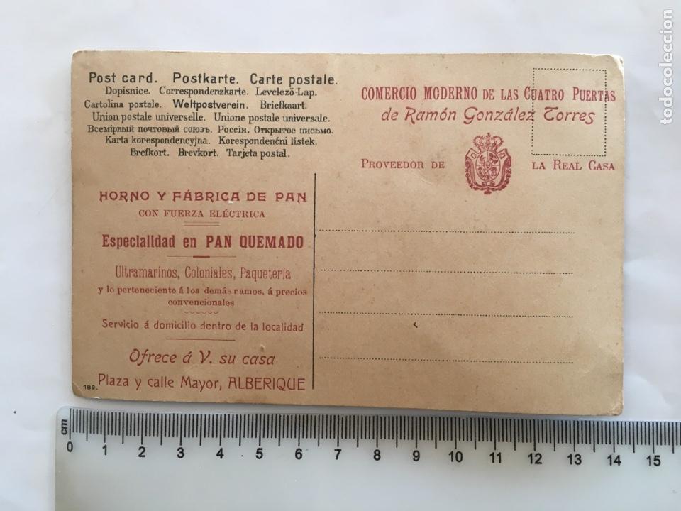 Postales: POSTAL. ALBERIQUE. COMERCIO MORENO DE LAS CUATRO PUERTAS DE RAMON GONZALEZ TORRES. PROVEEDOR DE LA C - Foto 2 - 195359953