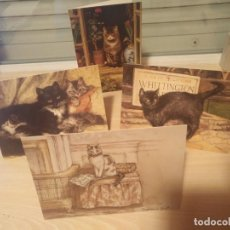 Postales: LOTE 4 TARJETAS POSTALES DOBLES- GATOS THE MUSEUMS ¬ GALLERIES COLLECTION LONDON 13X18 CMS. Lote 195430947