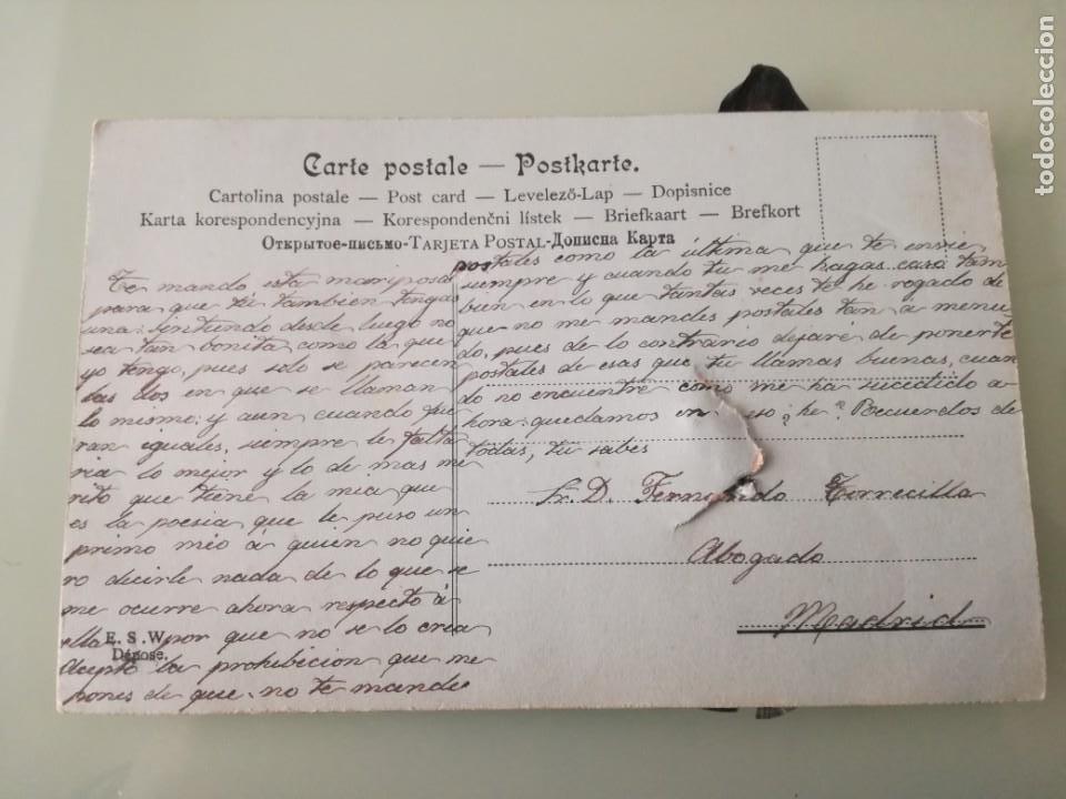 Postales: ORIGINAL POSTAL ANTIGUA CON UNA MARIPOSA HECHA CON TROZOS DE PLUMAS. - Foto 2 - 197664638