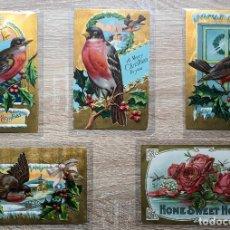 Postales: 5 POSTALES ANTIGUAS - PÁJAROS Y FLORES. Lote 207122663