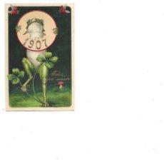Postales: ANTIGUA POSTAL DE RANA FELICITANDO EL AÑO 1907 EN RELIEVE CON SELLO CIRCULADA. Lote 236227090