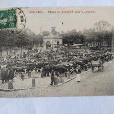 Postales: POSTAL FRANCIA AMIENS MERCADO DE CABALLOS. Lote 239957795