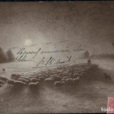 Postales: ARMAND GUÉRY. RENTRÉE AU PARC AU CLAIR DE LUNE. POSTAL CIRCULADA 1919. REBAÑO GANADO OVEJAS. Nº 91. Lote 269993268