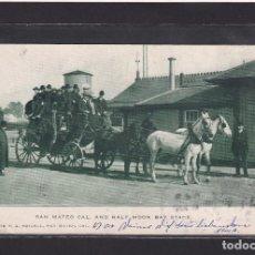 Postales: POSTAL DE ESTADOS UNIDOS - SAN MATEO CALIFORNIA AND HALF MOON BAY STAGE, 1908 DILIGENCIA. Lote 270141268