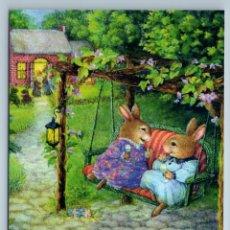 Postales: SUSAN WHEELER HOLLY POND HILL HARE BUNNY RABBIT SWING SUMMER GARDEN NEW POSTCARD - SUSAN WHEELER. Lote 278752843