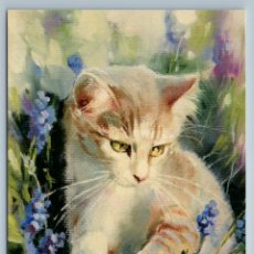 Postales: CAT KITTEN IN FLOWERS FIELD LAVENDER SUMMER TIME CUTE BY GOLOVINA NEW POSTCARD - NATALIA GOLOVINA. Lote 278752898
