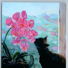 Postales: BLACK CAT N PINK ORCHID WINDOW CITY LANDSCAPE BY SIMONENKO NEW POSTCARD - SVETLANA SIMONENKO. Lote 278752918