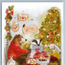 Postales: HARE RABBIT BEAR CHIPMUNK DRINK TEA SQUIRREL CHRISTMAS TREE EVE NEW POSTCARD - ANNA GALITSKAYA. Lote 278752948