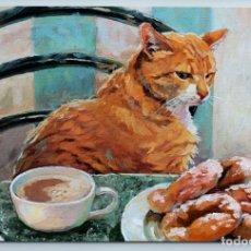 Postales: FUNNY RED CAT DONUT TEMPTATION KITCHEN COFFEE TIME COMIC HUMOR NEW POSTCARD - SVETLANA SIMONENKO. Lote 278752978
