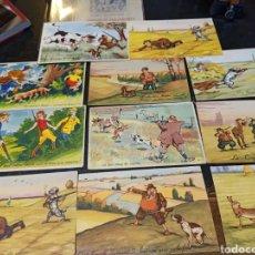 Postales: CONJUNTO DE ONCE POSTALES FRANCESAS CON ESCENAS CÓMICAS DE CAZA. Lote 296853233