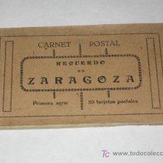 Postales: RECUERDO DE ZARAGOZA. CARNET POSTAL. PRIMERA SERIE. 20 TARJETAS POSTALES (FALTAN 4). Lote 24265168