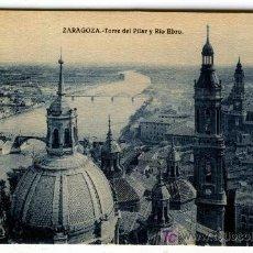 Postales: ZARAGOZA TORRE DEL PILAR Y RIO EBRO SIN EDICION SIN CIRCULAR - 3 POSTALES. Lote 4068851