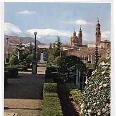 Postales: ZARAGOZA. TARAZONA. GLORIETA DE LA ESTACION Y MACIZO DEL MONCAYO AL FONDO. CIRCULADA EN 1967. Lote 5646202
