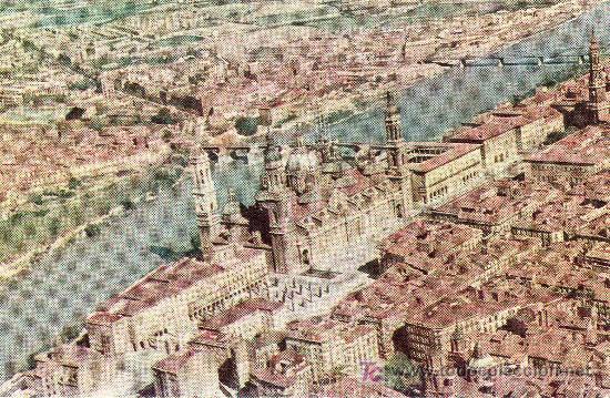 SERIE IBERIA.POSTAL ZARAGOZA.EL PILAR Y RIO EBRO. NO CIRCULADA. 1960 (Postales - España - Aragón Moderna (desde 1.940))