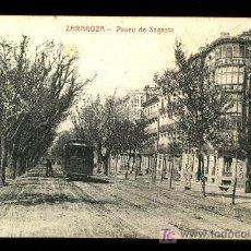 Postales: POSTAL DE ZARAGOZA - PASEO DE SAGASTA PASO TRENVIA. Lote 7207042