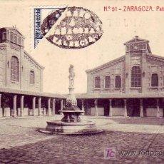 Postales: ZARAGOZA: PATIO DEL MATADERO. FOTOTIPIA THOMAS, SIN CIRCULAR. FRANQUEO Y MATASELLOS DE FANTASIA. Lote 24766219