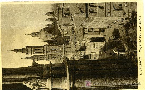 ZARAGOZA - TEMPLO DEL PILAR DESDE LA SEO - EDITOR M. ARRIBAS - SIN CIRCULAR (Postales - España - Aragón Moderna (desde 1.940))