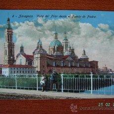 Postales: ZARAGOZA - VISTA DEL PILAR DESDE EL PUENTE DE PIEDRA. Lote 8100290