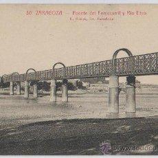 Postales: POSTAL DE ZARAGOZA PUENTE DEL FERROCARRIL Y RIO EBRO . Lote 13101853