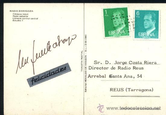 Postales: Postal Radio Zaragoza dirigida a Radio Reus / 1980 / Emisora movil coche Simca 1000 - Foto 2 - 25575405