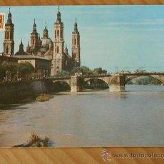 Postales: POSTAL DE ZARAGOZA . BASILICA DEL PILAR Y PUENTE DE PIEDRA .AÑO 1962. Lote 12373687