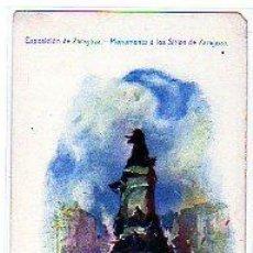 Postales: EXPOSICIÓN DE ZARAGOZA. MONUMENTO A LOS SITIOS DE ZARAGOZA. IMPRENTA ALEMANA. MADRID.. Lote 26926093