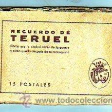 Postales: TERUEL. RECUERDO DE LA CIUDAD ANTES DE LA GUERRA Y COMO QUEDO DESPUÉS DE SU RECONQUISTA. 15 TP. Lote 25601816